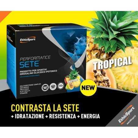 ETHICSPORT PERFORMANCE SETE GUSTO TROPICALE BUSTA DA 22g PER DISSETARE RAPIDAMENTE E FORNIRE ENERGIA